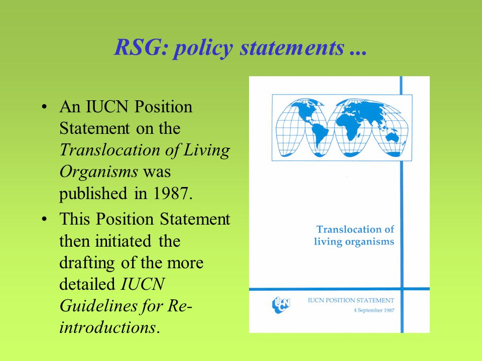 RSG: policy statements...