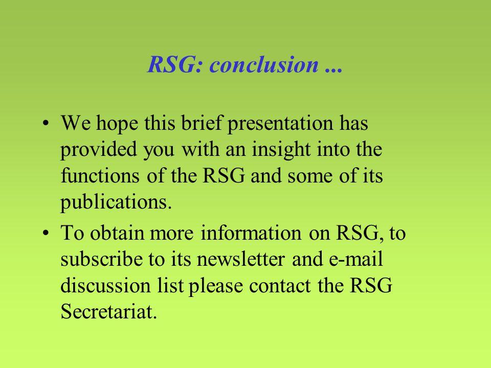 RSG: conclusion...