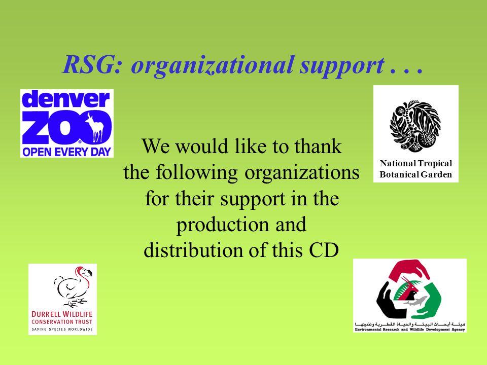 RSG: organizational support...