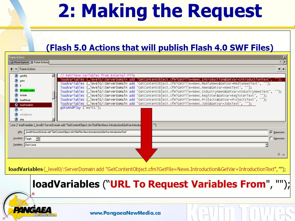2: Making the Request (Flash 5.0 Actions that will publish Flash 4.0 SWF Files) loadVariables (_level0/:ServerDomain add GetContentObject.cfm GetFile=News.Introduction&GetVar=IntroductionText , ); loadVariables ( URL To Request Variables From , );