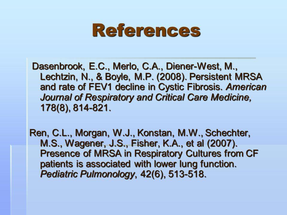 References Dasenbrook, E.C., Merlo, C.A., Diener-West, M., Lechtzin, N., & Boyle, M.P.