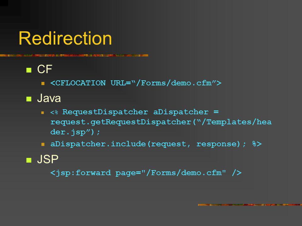 Redirection CF Java <% RequestDispatcher aDispatcher = request.getRequestDispatcher( /Templates/hea der.jsp ); aDispatcher.include(request, response); %> JSP