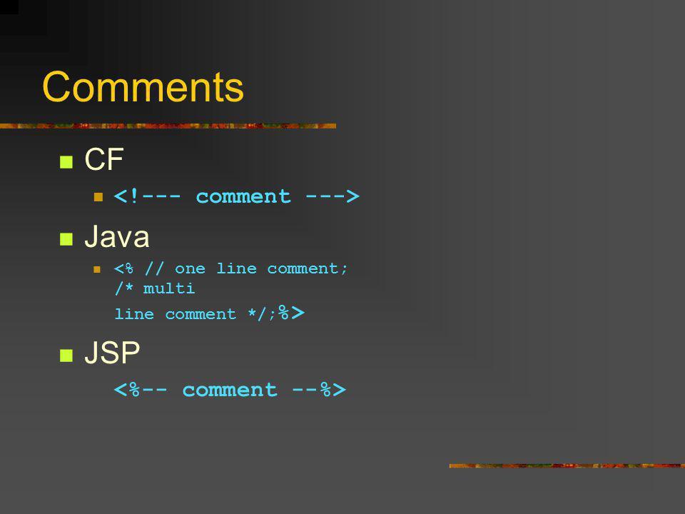 Comments CF Java JSP