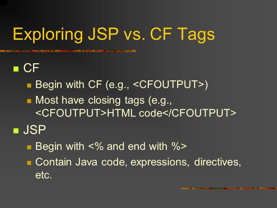 Learning More Several CFDJ Articles Java For Cfers, Ben Forta 3 parts, starting November 2000 ColdFusion & Java: A Cold Cup o' Joe, Guy Rish 9 parts, starting in Jan 2001 Also see Java Developer's Journal