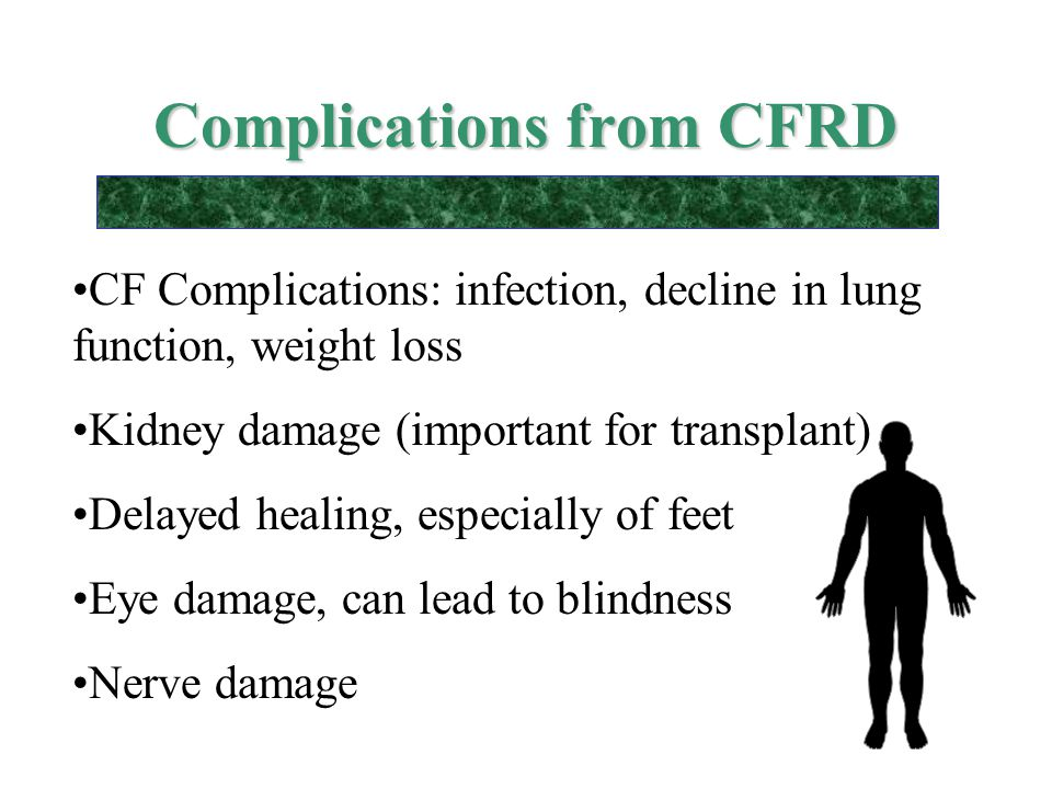 Complications from CFRD CF Complications: infection, decline in lung function, weight loss Kidney damage (important for transplant) Delayed healing, e