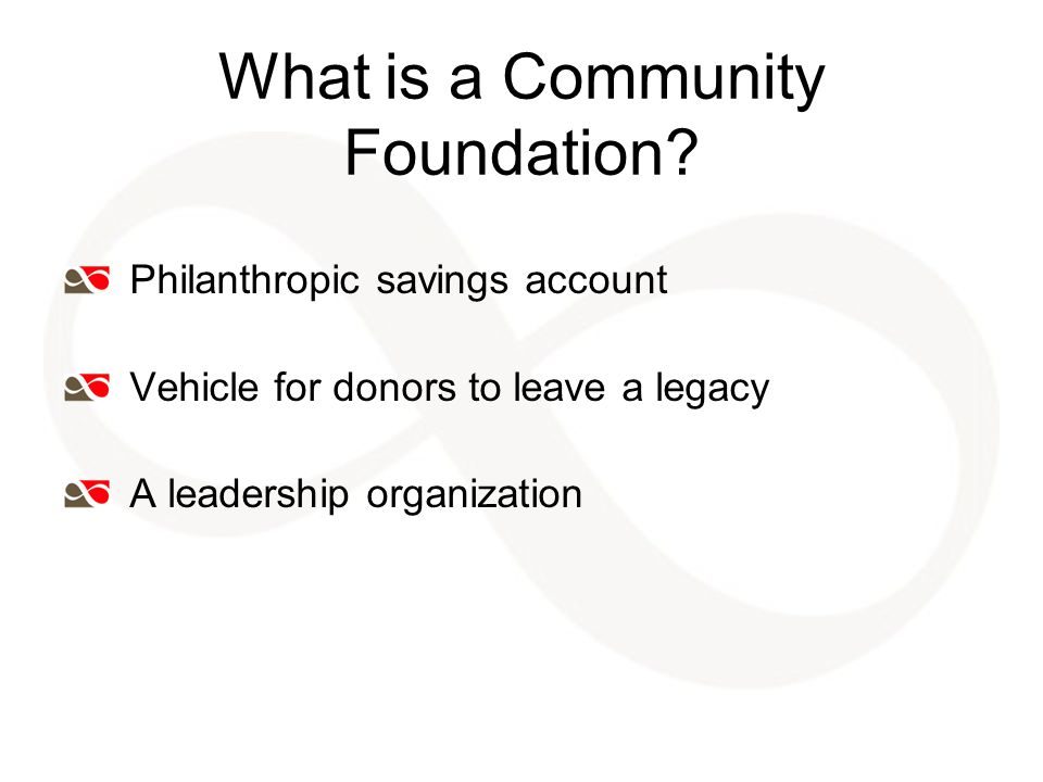 Examples of Leadership Nonprofit Capacity Building Fiscal Sponsorships Community visioning, planning sessions Project work with multiple partners Fundraising campaigns