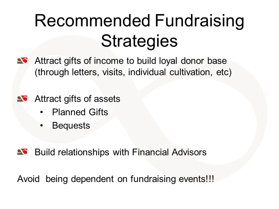 Recommended Fundraising Strategies Attract gifts of income to build loyal donor base (through letters, visits, individual cultivation, etc) Attract gifts of assets Planned Gifts Bequests Build relationships with Financial Advisors Avoid being dependent on fundraising events!!!