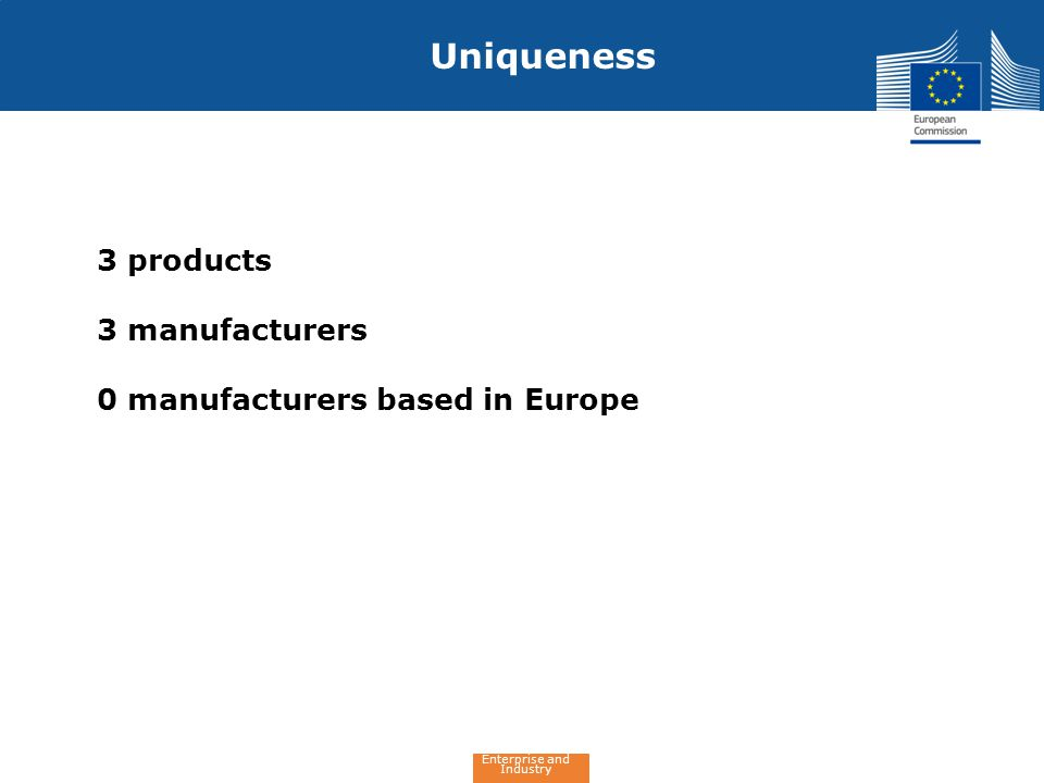 Enterprise and Industry Uniqueness 3 products 3 manufacturers 0 manufacturers based in Europe
