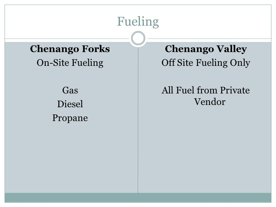 Fueling Chenango Forks On-Site Fueling Gas Diesel Propane Chenango Valley Off Site Fueling Only All Fuel from Private Vendor