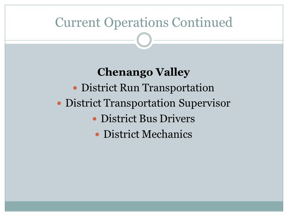 Current Operations Continued Chenango Valley District Run Transportation District Transportation Supervisor District Bus Drivers District Mechanics