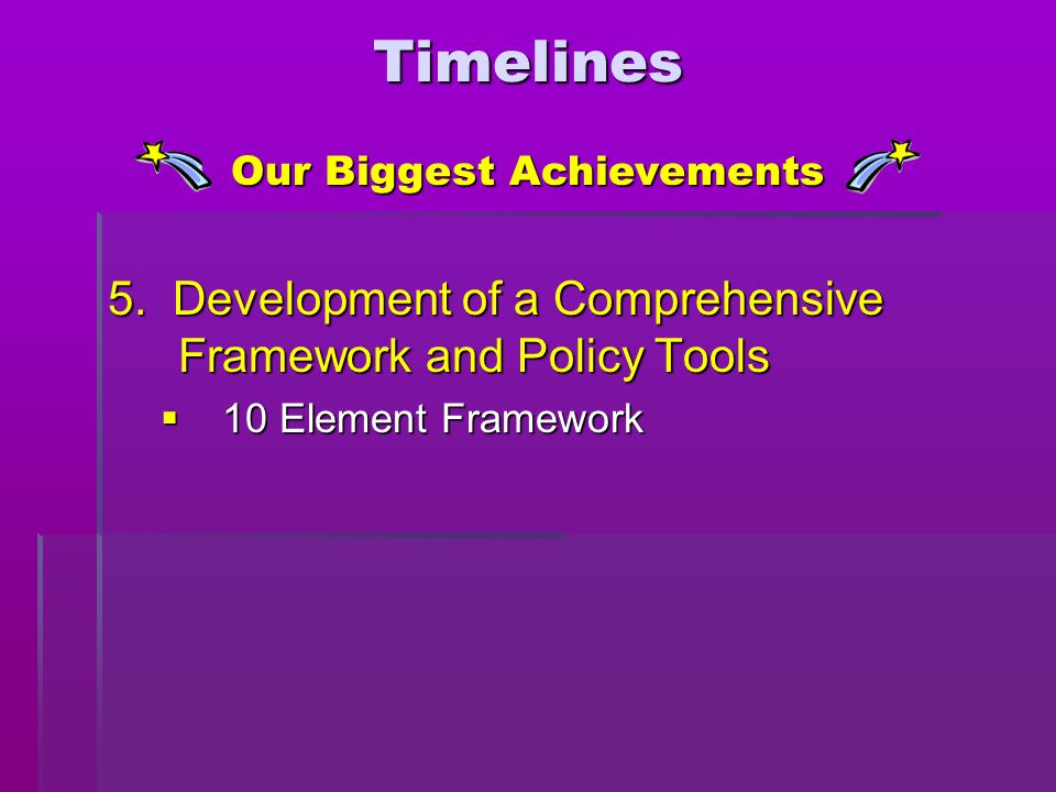 5. Development of a Comprehensive Framework and Policy Tools  10 Element Framework Our Biggest Achievements Timelines