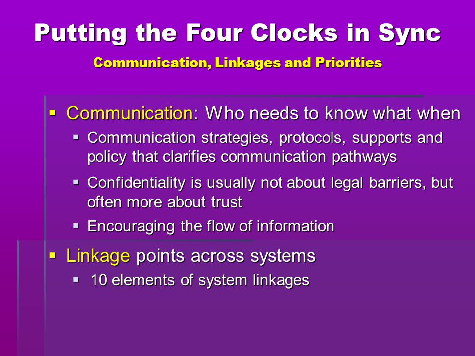 Putting the Four Clocks in Sync Communication, Linkages and Priorities  Communication: Who needs to know what when  Communication strategies, protoc