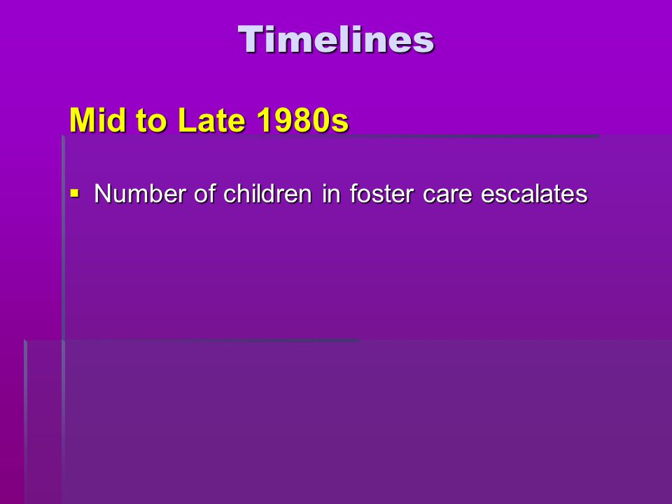  Number of children in foster care escalates Timelines Mid to Late 1980s