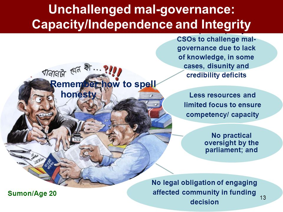 Inadequate capacity of CSOs to challenge mal- governance due to lack of knowledge, in some cases, disunity and credibility deficits Less resources and