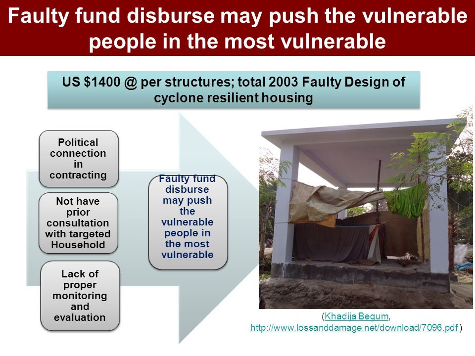 Political connection in contracting Not have prior consultation with targeted Household Lack of proper monitoring and evaluation Faulty fund disburse
