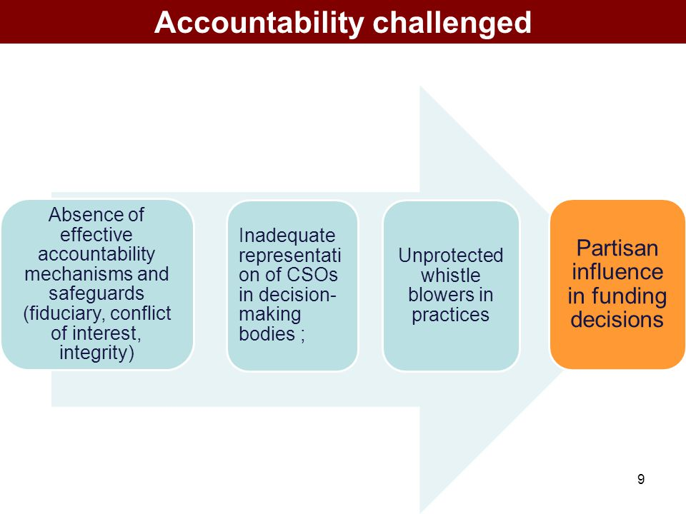 9 Accountability challenged Absence of effective accountability mechanisms and safeguards (fiduciary, conflict of interest, integrity) Inadequate repr