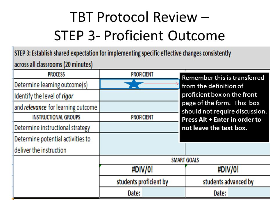 TBT Protocol Review – STEP 3- Proficient Outcome Remember this is transferred from the definition of proficient box on the front page of the form.