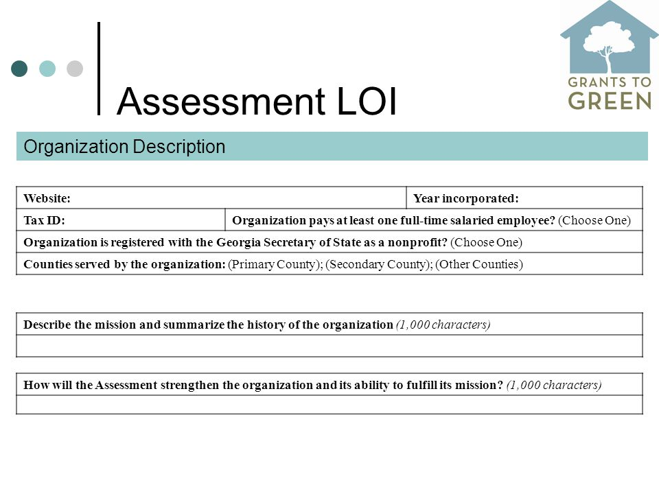 Assessment LOI Website: Year incorporated: Tax ID: Organization pays at least one full-time salaried employee.