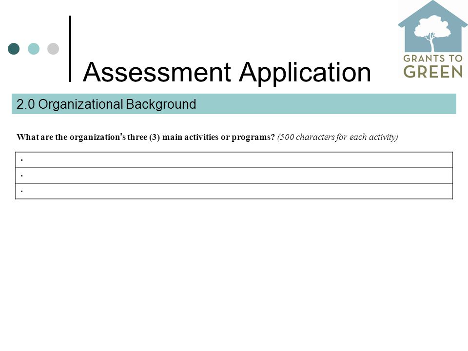 Assessment Application What are the organization ' s three (3) main activities or programs.