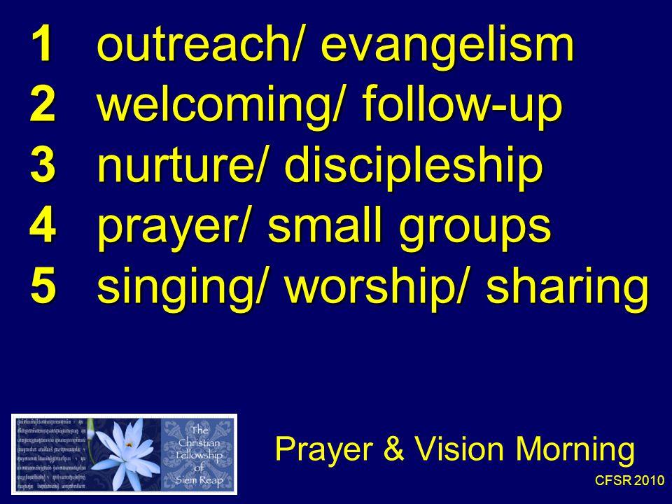 CFSR 2010 Prayer & Vision Morning 1 outreach/ evangelism 2 welcoming/ follow-up 3 nurture/ discipleship 4 prayer/ small groups 5 singing/ worship/ sharing