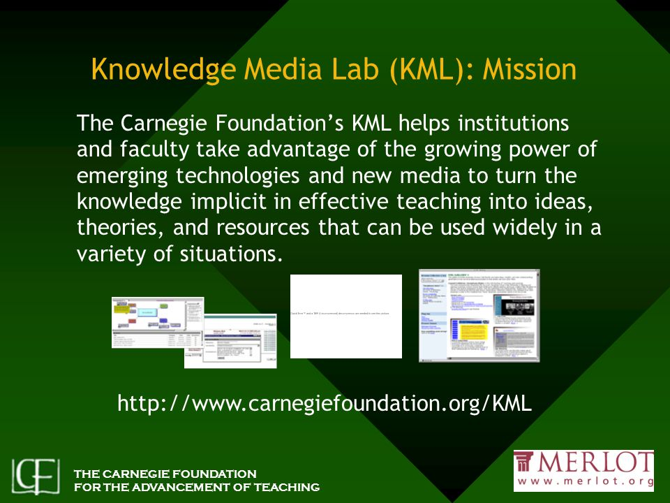 THE CARNEGIE FOUNDATION FOR THE ADVANCEMENT OF TEACHING Knowledge Media Lab (KML): Mission The Carnegie Foundation's KML helps institutions and faculty take advantage of the growing power of emerging technologies and new media to turn the knowledge implicit in effective teaching into ideas, theories, and resources that can be used widely in a variety of situations.