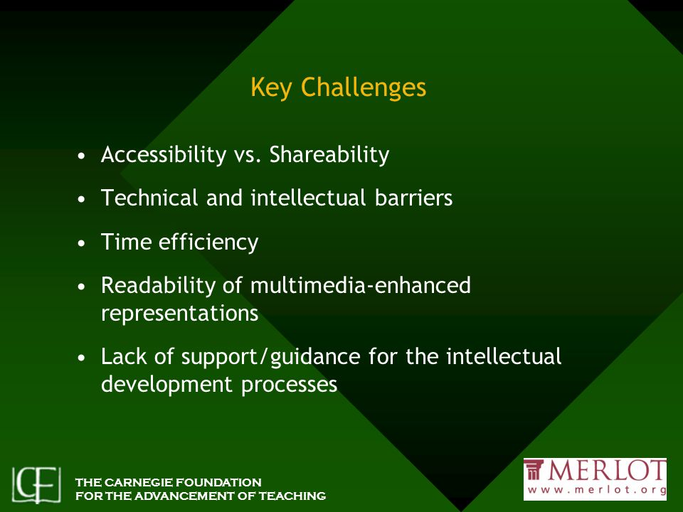 THE CARNEGIE FOUNDATION FOR THE ADVANCEMENT OF TEACHING Key Challenges Accessibility vs.