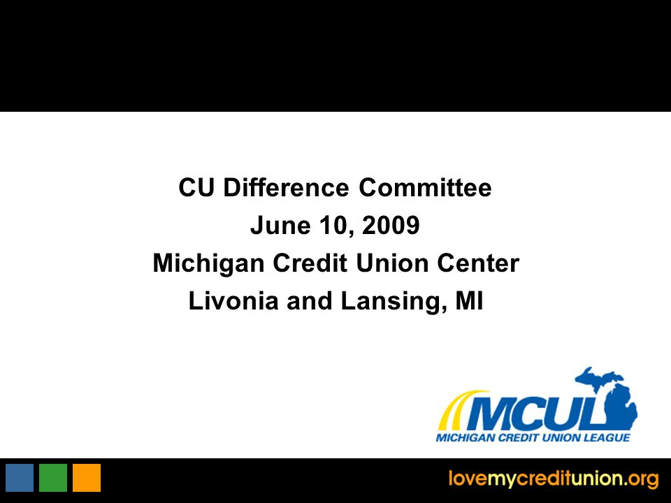 CU Difference Committee June 10, 2009 Michigan Credit Union Center Livonia and Lansing, MI