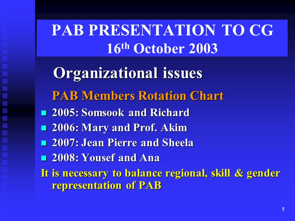 5 PAB PRESENTATION TO CG 16 th October 2003 Organizational issues Organizational issues PAB Members Rotation Chart 2005: Somsook and Richard 2005: Somsook and Richard 2006: Mary and Prof.