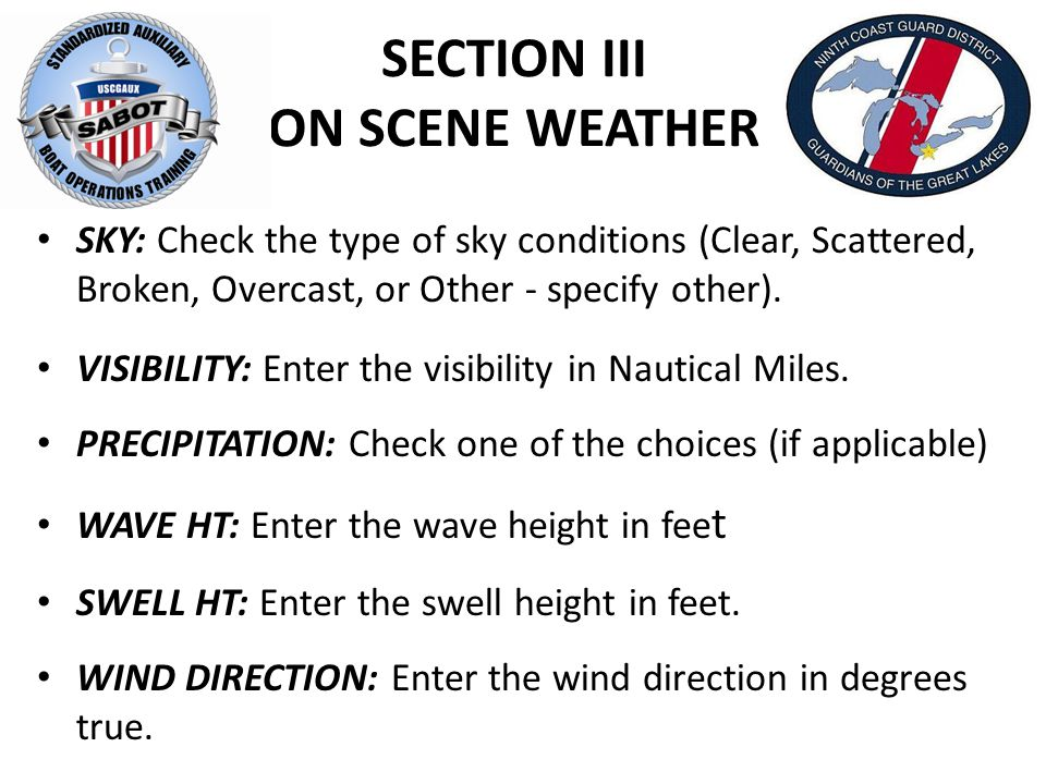 SECTION III ON SCENE WEATHER SKY: Check the type of sky conditions (Clear, Scattered, Broken, Overcast, or Other - specify other).