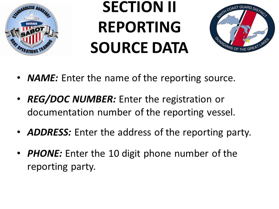 SECTION II REPORTING SOURCE DATA NAME: Enter the name of the reporting source. REG/DOC NUMBER: Enter the registration or documentation number of the r