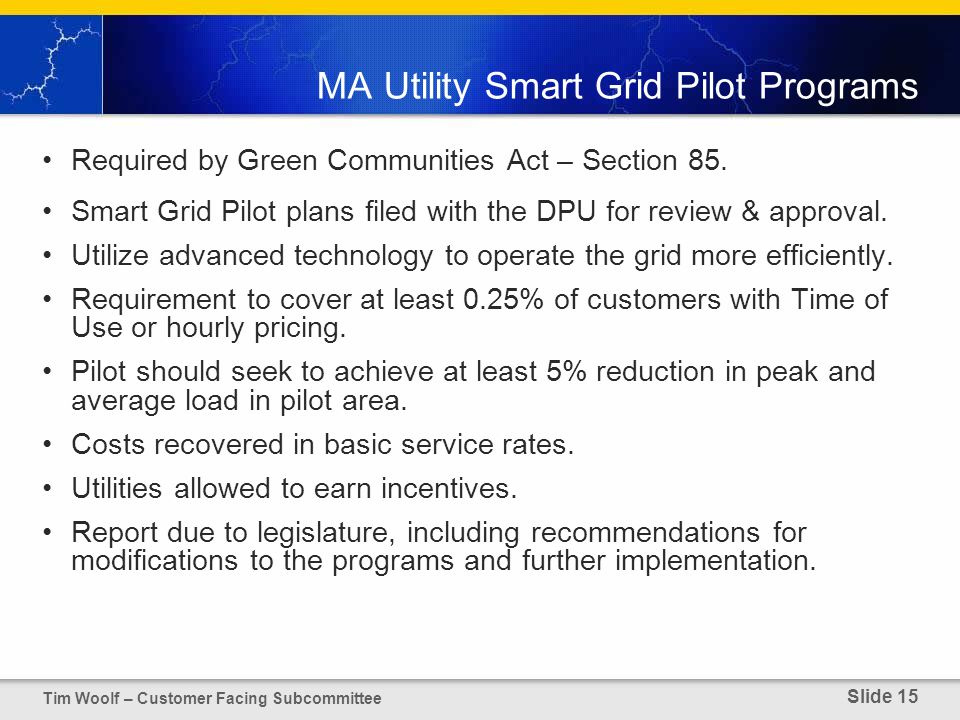 MA Utility Smart Grid Pilot Programs Required by Green Communities Act – Section 85.