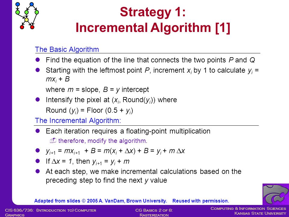 Computing & Information Sciences Kansas State University CG Basics 2 of 8: Rasterization CIS 636/736: (Introduction to) Computer Graphics The Basic Algorithm Find the equation of the line that connects the two points P and Q Starting with the leftmost point P, increment x i by 1 to calculate y i = mx i + B where m = slope, B = y intercept Intensify the pixel at (x i, Round(y i )) where Round (y i ) = Floor (0.5 + y i ) The Incremental Algorithm: Each iteration requires a floating-point multiplication  therefore, modify the algorithm.