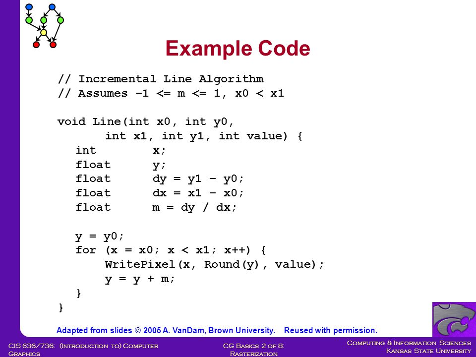 Computing & Information Sciences Kansas State University CG Basics 2 of 8: Rasterization CIS 636/736: (Introduction to) Computer Graphics y = y 0 + R; x = x 0 ; Pixel(x, y); For (x = x 0 +1; (x – x 0 ) > (y – y 0 ); x++) { if (decision_var < 0) { /* move east */ update decision_var; } else { /* move south east */ update decision_var; y--; } Pixel(x, y); } (decision_var will be defined momentarily) Note: can replace all occurrences of x 0 and y 0 with 0, 0, Pixel (x 0 + x, y 0 + y) with Pixel (x, y) Essentially a shift of coordinates E SE Sketch of Incremental Algorithm Adapted from slides © 2005 A.