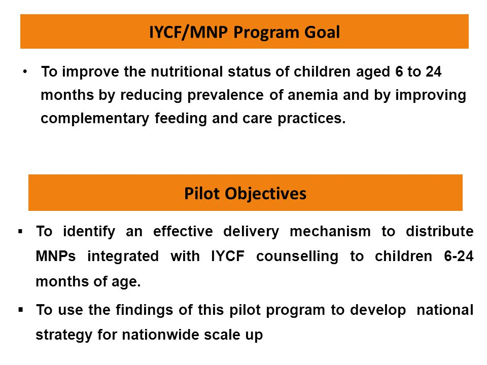 IYCF/MNP Program Goal To improve the nutritional status of children aged 6 to 24 months by reducing prevalence of anemia and by improving complementar