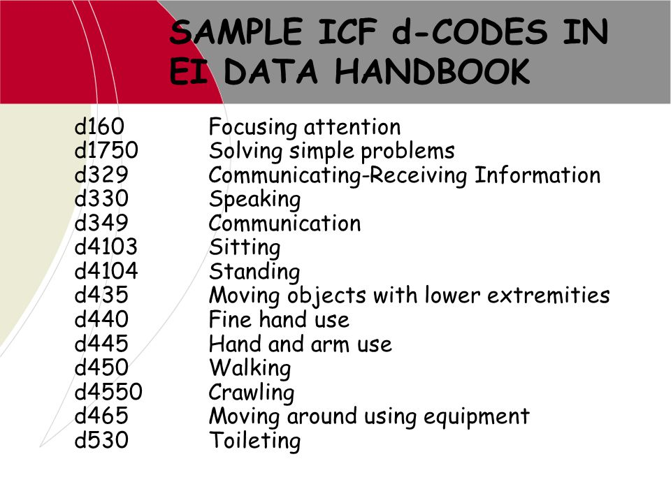 SAMPLE ICF d-CODES IN EI DATA HANDBOOK d160Focusing attention d1750Solving simple problems d329Communicating-Receiving Information d330Speaking d349Co
