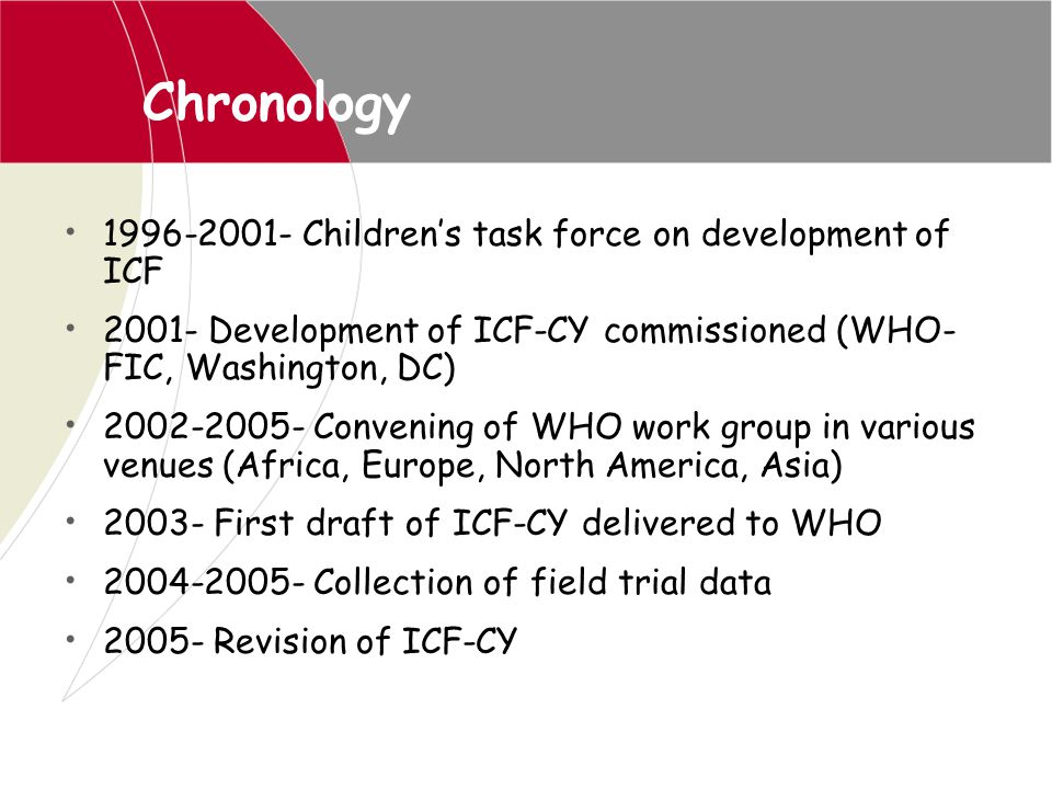 Chronology 1996-2001- Children's task force on development of ICF 2001- Development of ICF-CY commissioned (WHO- FIC, Washington, DC) 2002-2005- Conve