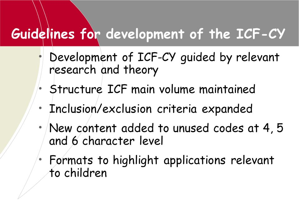 Educational application: manual for special education *Manual for use of ICF for children and youth with disabilities *Edited and written by National Institute of Special Education Japan, Approved by WHO