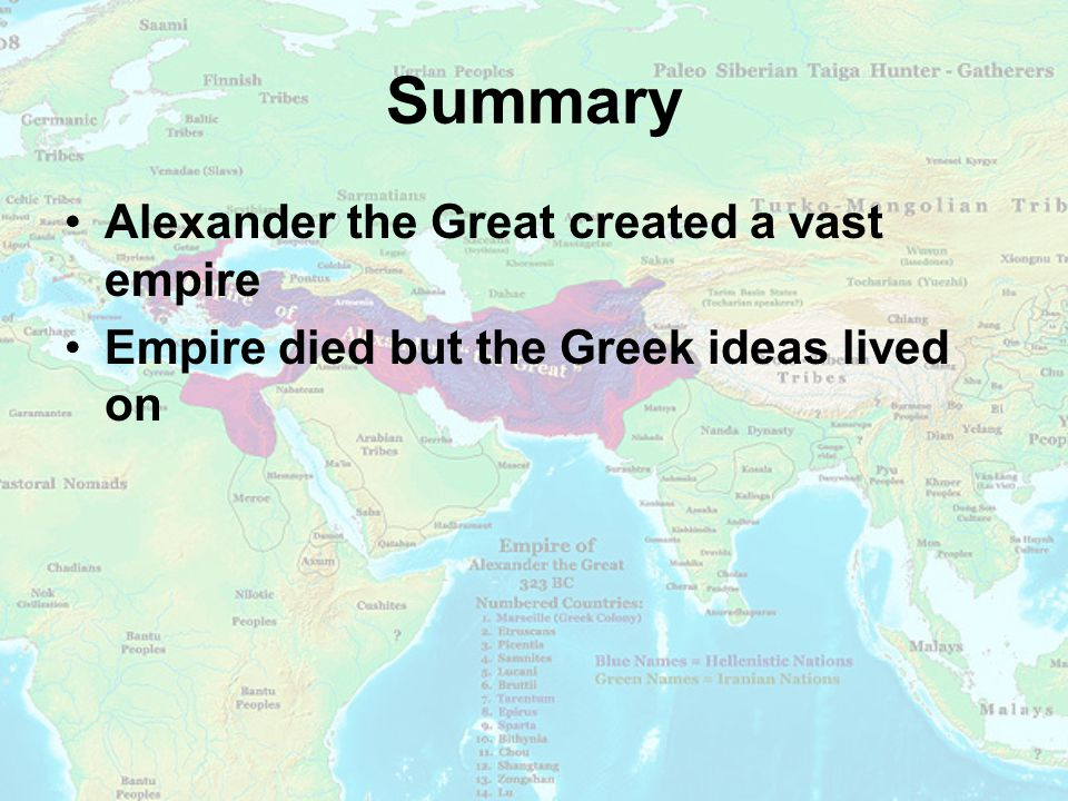 Summary Alexander the Great created a vast empire Empire died but the Greek ideas lived on