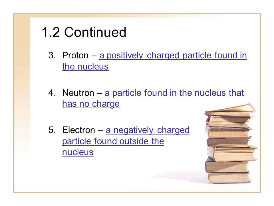 1.2 Continued 3.Proton – a positively charged particle found in the nucleus 4.Neutron – a particle found in the nucleus that has no charge 5.Electron