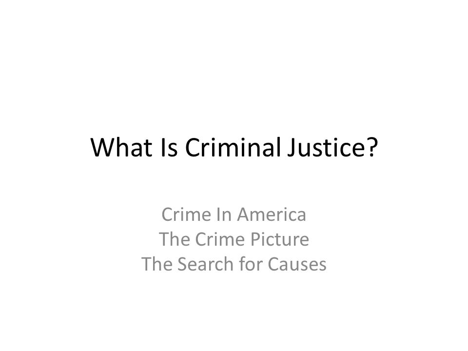 What Is Criminal Justice? Crime In America The Crime Picture The Search for Causes