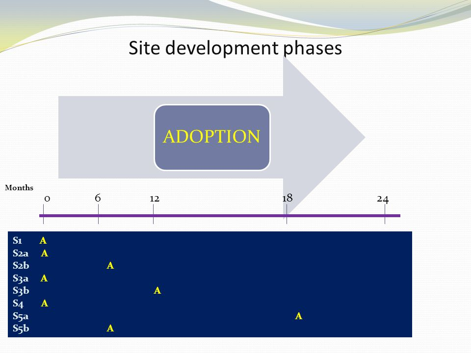 Site development phases ADOPTION 0 6 12 18 24 S1 A S2a A S2bA S3a A S3bA S4 A S5aA S5b A Months
