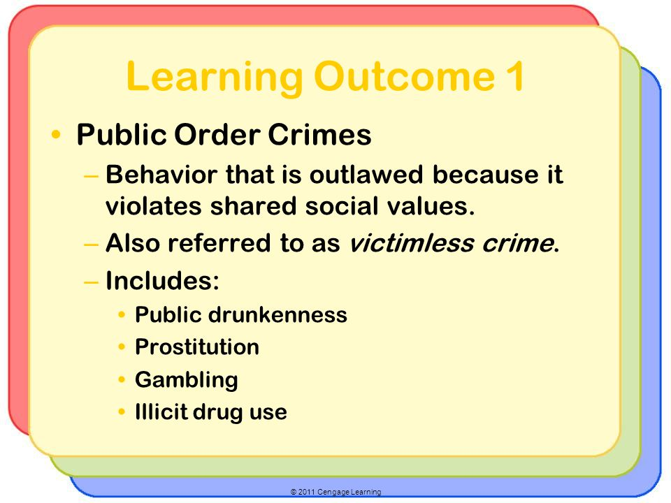 © 2011 Cengage Learning Learning Outcome 1 Public Order Crimes – Behavior that is outlawed because it violates shared social values. – Also referred t