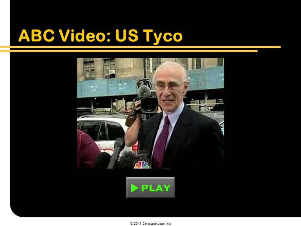 © 2011 Cengage Learning ABC Video: US Tyco