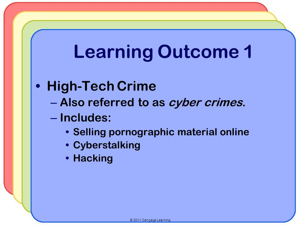 © 2011 Cengage Learning Learning Outcome 1 High-Tech Crime – Also referred to as cyber crimes. – Includes: Selling pornographic material online Cybers