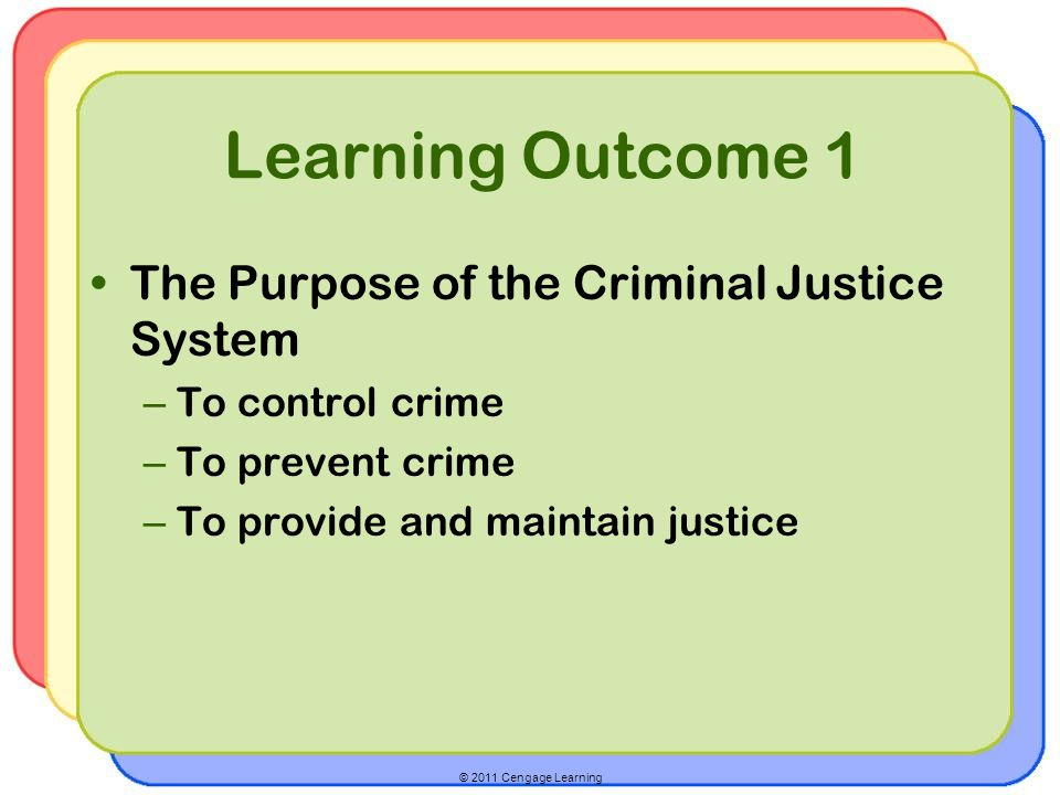 © 2011 Cengage Learning Learning Outcome 1 The Purpose of the Criminal Justice System – To control crime – To prevent crime – To provide and maintain