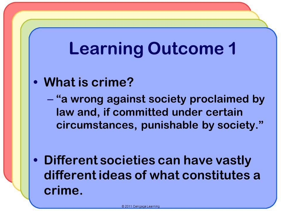 © 2011 Cengage Learning Mastering Concepts Crime Control Model versus Due Process Model