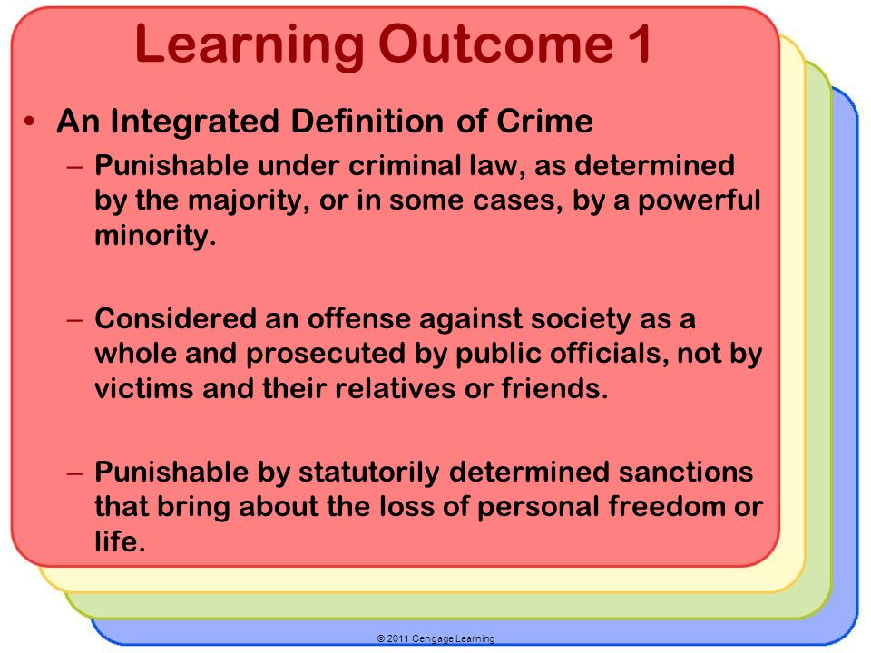 © 2011 Cengage Learning Learning Outcome 1 Criminal behavior can be grouped into six categories: – Violent crime – Property crime – Public order crime – White collar crime – Organized crime – High-tech crime