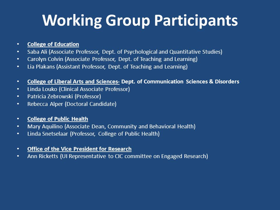 Working Group Participants College of Education Saba Ali (Associate Professor, Dept.