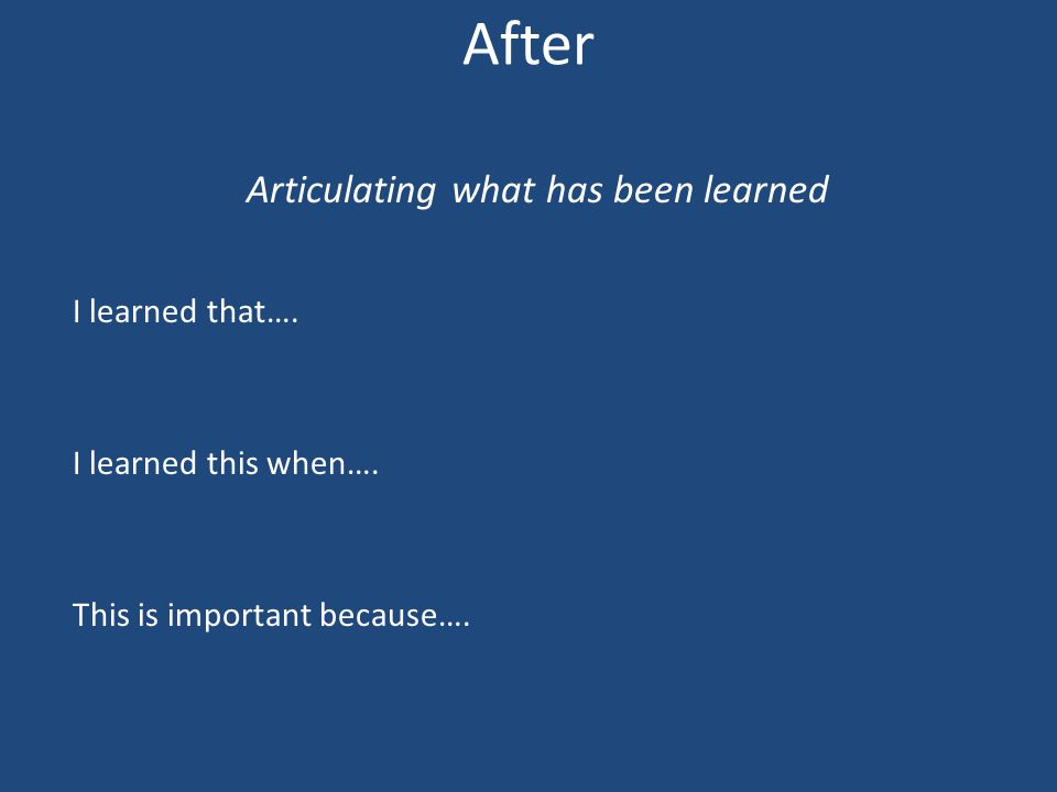 After Articulating what has been learned I learned that….