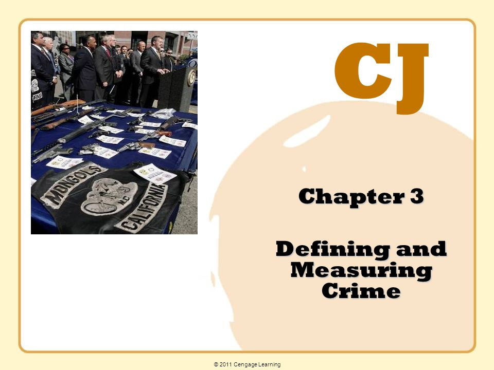 © 2011 Cengage Learning Learning Outcome 3 Part II Offenses: Includes all crimes that do not fall into the category of Part I offenses.